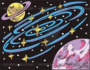 Weltraum Landschaft mit Saturn-ähnlichem Planet - Vektorgrafik