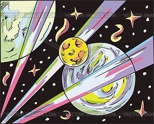Weltraum-Landschaft mit Exoplaneten - Vektorgrafik
