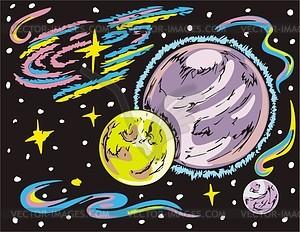 Weltraum Landschaft mit Planeten - Vektorgrafik