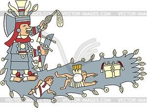 Mayahuel - aztekische Göttin des Gewässers und Flüsse - Vektorgrafik