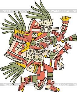 Huehuecoyotl - aztekischer Gott der Musik, Tanzes und Gesanges - Vektorgrafik