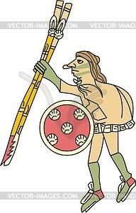 Aztekischer Gott Huitzilopochtli als Mensch - Vektorgrafik
