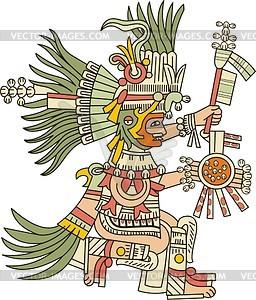 Aztekischer Gott Huitzilopochtli - Vektorgrafik
