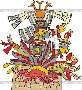 Mayahuel - aztekische Göttin der Agave Pflanze - Vektorgrafik
