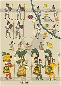 Seite 67r aus aztekishem Codex Mendoza - Vektorgrafik