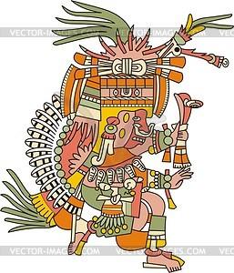 Patecatl - aztekischer Gott der Heilkunst, Fruchtbarkeit und Peyote - Vektorgrafik