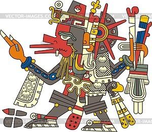 Aztekischer Gott Quetzalcoatl - Vector-Clipart