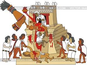 Aztekische Opfergabe eines Herz von lebenden Menschen - Vektorgrafik