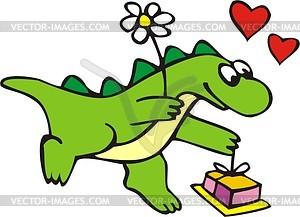 Drache mit Blume und Geschenk  - Vektorgrafik
