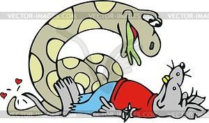 Ratte und Schlange - Vektor-Abbildung