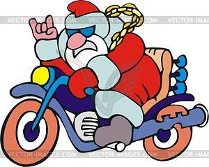 Weihnachtsmann fährt Motorrad - Vektorgrafik