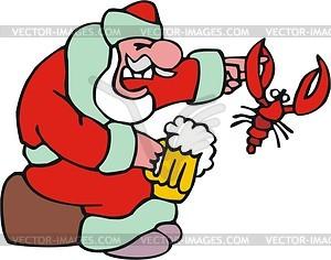 Weihnachtsmann mit Bier - Vektorgrafik