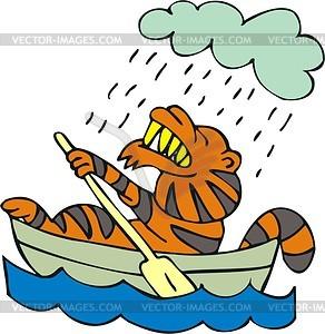 Tiger im Boot - Vektorgrafik