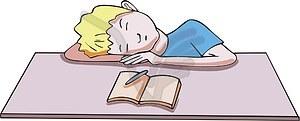Schlafender Schuljunge - Vektorgrafik