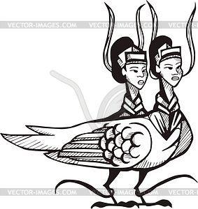 Chinesischer Doppelvogel - Vektorgrafik
