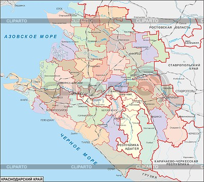 Karte von Region Krasnodar | Stock Vektorgrafik |ID 2007518