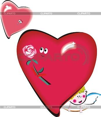 Zwei Herzen, Rose und Engelchen | Stock Vektorgrafik |ID 2006249