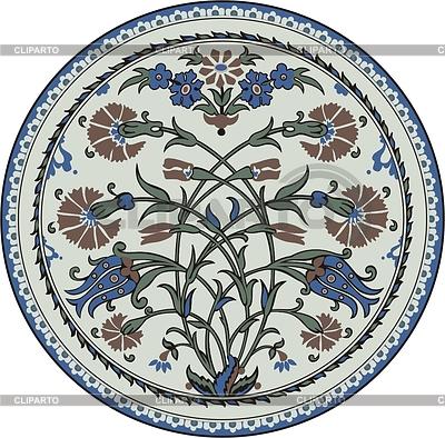 Round oriental flower ornament | Klipart wektorowy |ID 2013366