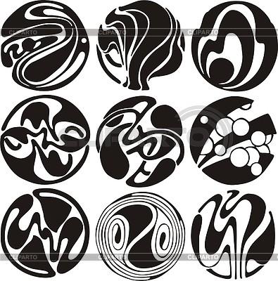 Art nouveau round dingbats | Klipart wektorowy |ID 2026352
