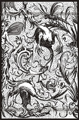 Antike Gravur mit Vögeln | Stock Vektorgrafik |ID 2018835