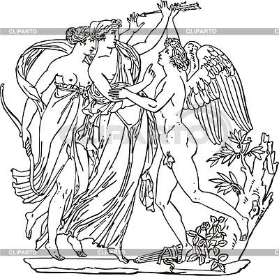 Gravur mit Musen und Amor | Stock Vektorgrafik |ID 2014446