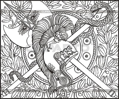 Gravur mit Helm, Schlange und überquerte Hecht und Axt | Stock Vektorgrafik |ID 2014450