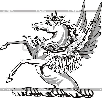 Helmkleinod mit geflügelten Pferd | Stock Vektorgrafik |ID 2010916