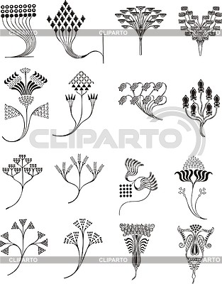 einfache florale ornamente im jugendstil stock. Black Bedroom Furniture Sets. Home Design Ideas