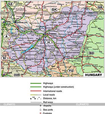 Straßenkarte von Ungarn | Stock Vektorgrafik |ID 2010172