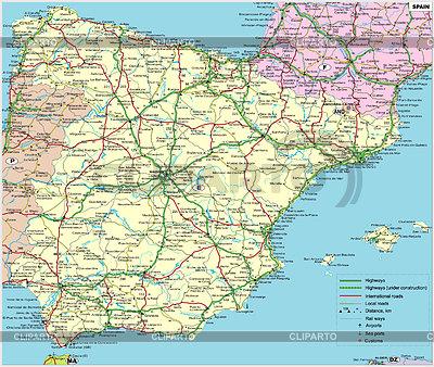 Spain road map | Klipart wektorowy |ID 2007035