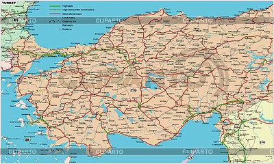 Turkey road map | Klipart wektorowy |ID 2007516