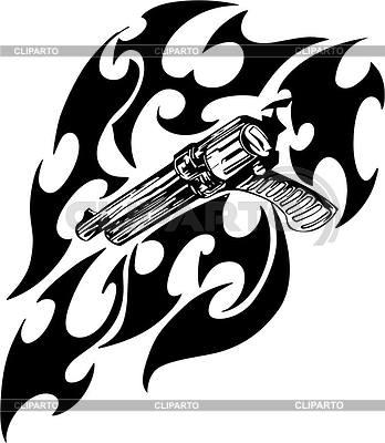 Revolver Flamme Tattoo | Stock Vektorgrafik |ID 2024114