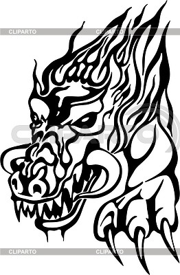 Dragon flame tattoo | 向量插图 |ID 2014108