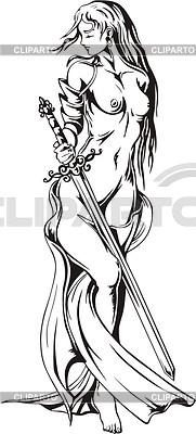 Amazon girl topless with a sword | Klipart wektorowy |ID 2018288