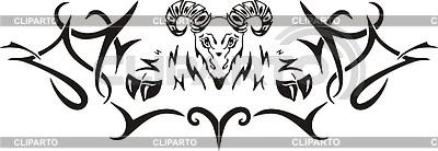 Symmetrical goat tattoo | 向量插图 |ID 2017061
