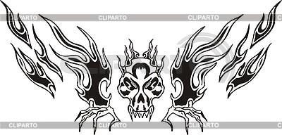Симметричное тату череп | Векторный клипарт |ID 2017035