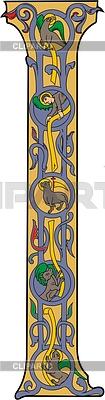Initial letter I representing the four evangelist symbols | Klipart wektorowy |ID 2004797