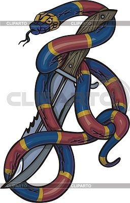 Snake and poniard | Klipart wektorowy |ID 2022888