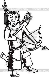 Amerikanisher Indianer mit Pfeil und Bogen - Vektor-Abbildung