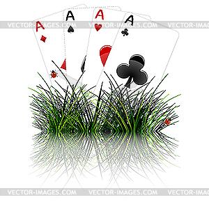 Vier Asse im Gras - Vektor-Design