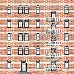Haus mit Notleiter - Vector-Abbildung