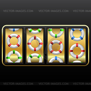 Rettungsringe im Spielautomat - Stock Vektor-Clipart