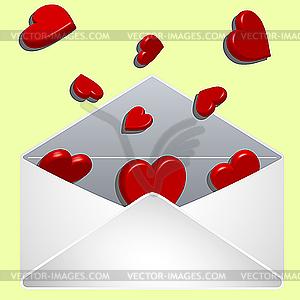 Liebesbrief mit Herzchen  - Vektor-Illustration