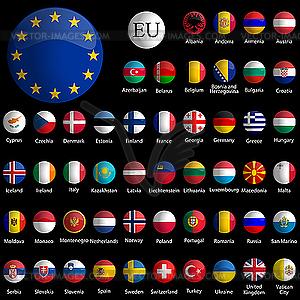 Icon-Sammlung mit Europa-Flaggen - Vektor-Clipart / Vektor-Bild