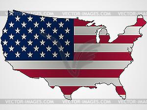 US-Flagge als Landkarte - Vektorgrafik