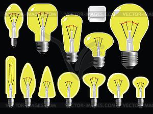 Formen von Glühbirnen - farbige Vektorgrafik