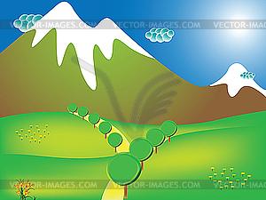 Weg auf die Berge - Vector-Clipart / Vektor-Bild