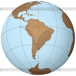 Südamerika auf dem Globus - Vektor-Clipart EPS