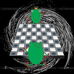 Frösche spielen Schach - Vector-Clipart / Vektor-Bild