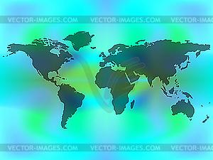 Weltkarte auf farbigem Hintergrund - Vektor-Bild